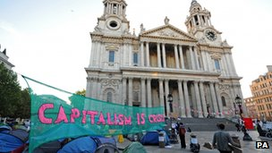 St Pauls with protestors camped outside