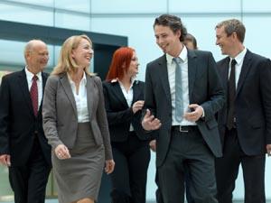 Team of business people walking