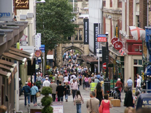 High street with people