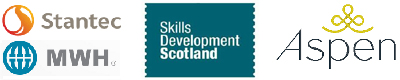 Stantec, Skills Development Scotland, and Aspen logos