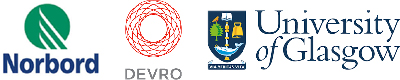 Norbord, Devro, and University of Glasgow logos